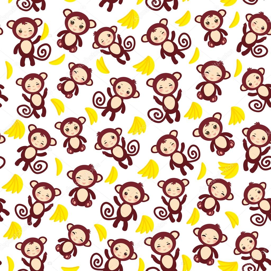 seamless pattern with funny brown monkey, yellow bananas, boys and girls on white background. Vector