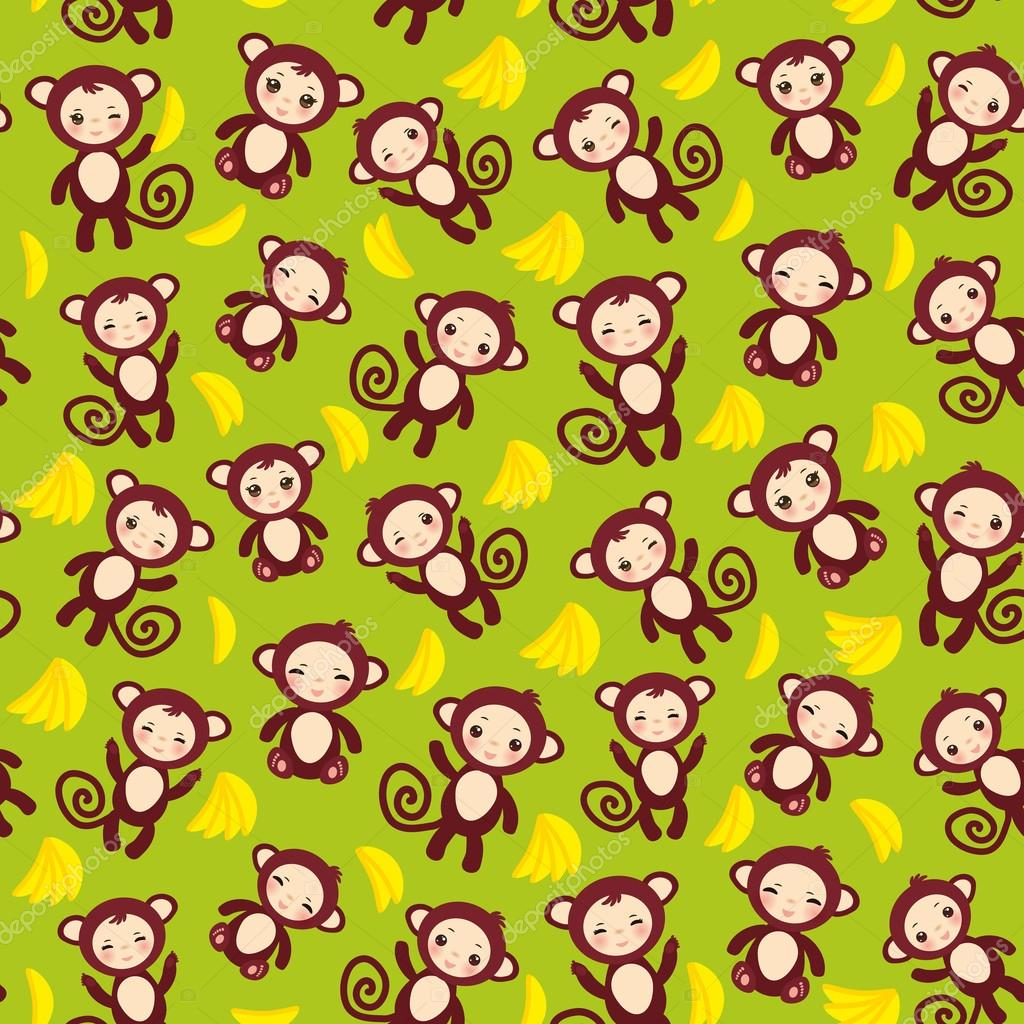 seamless pattern with funny brown monkey, yellow bananas, boys and girls on green background. Vector