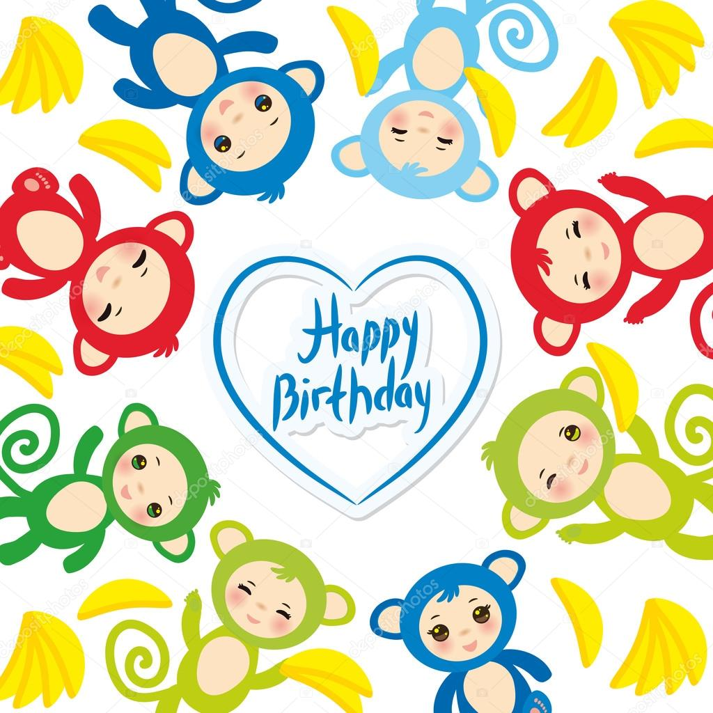 Happy Birthday Card Template Funny Green Blue Pink Orange Monkey Yellow Bananas Boys And Girls On White Background Vector Illustration Vektor Von