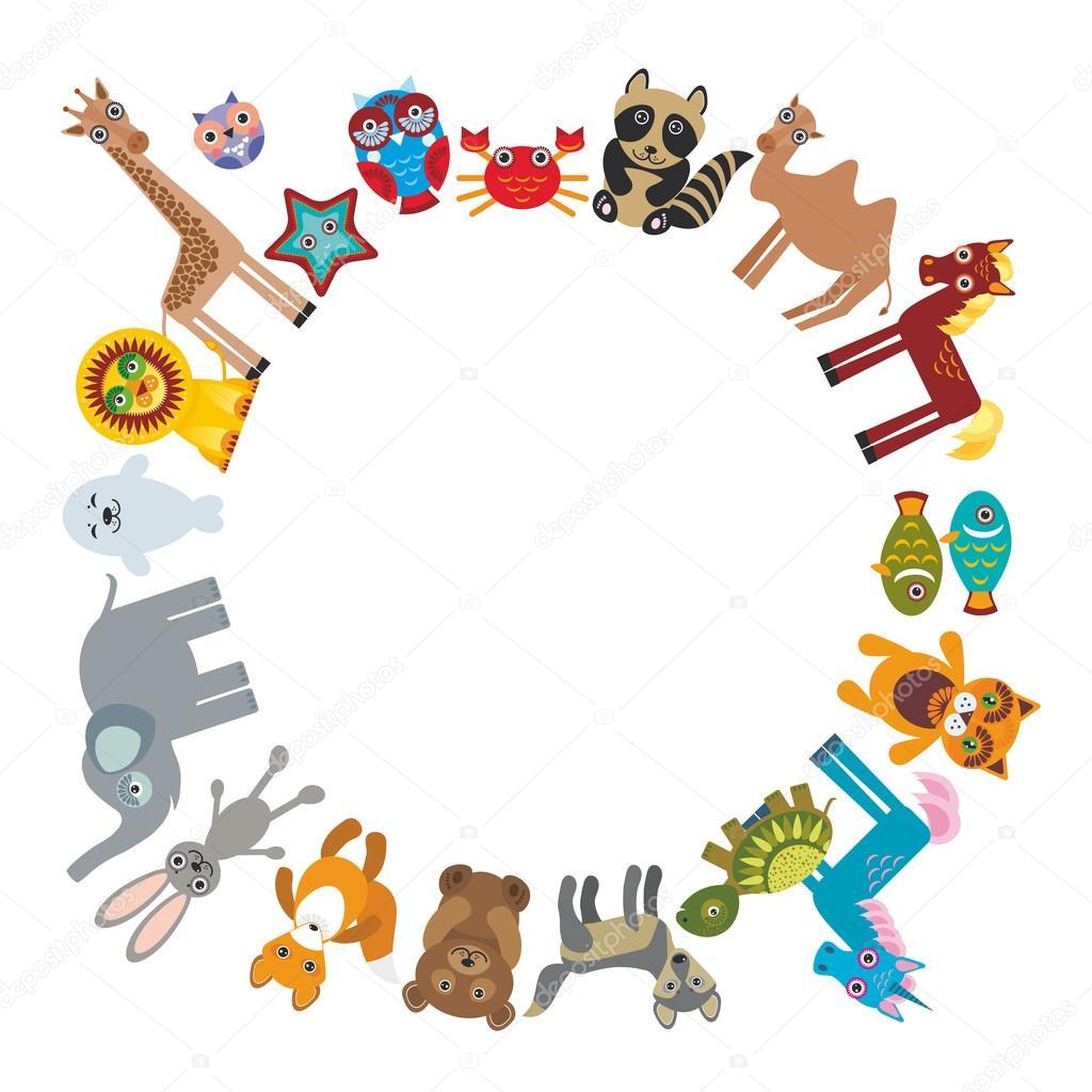 Conjunto de animales de dibujos animados divertido elefante oso de ...