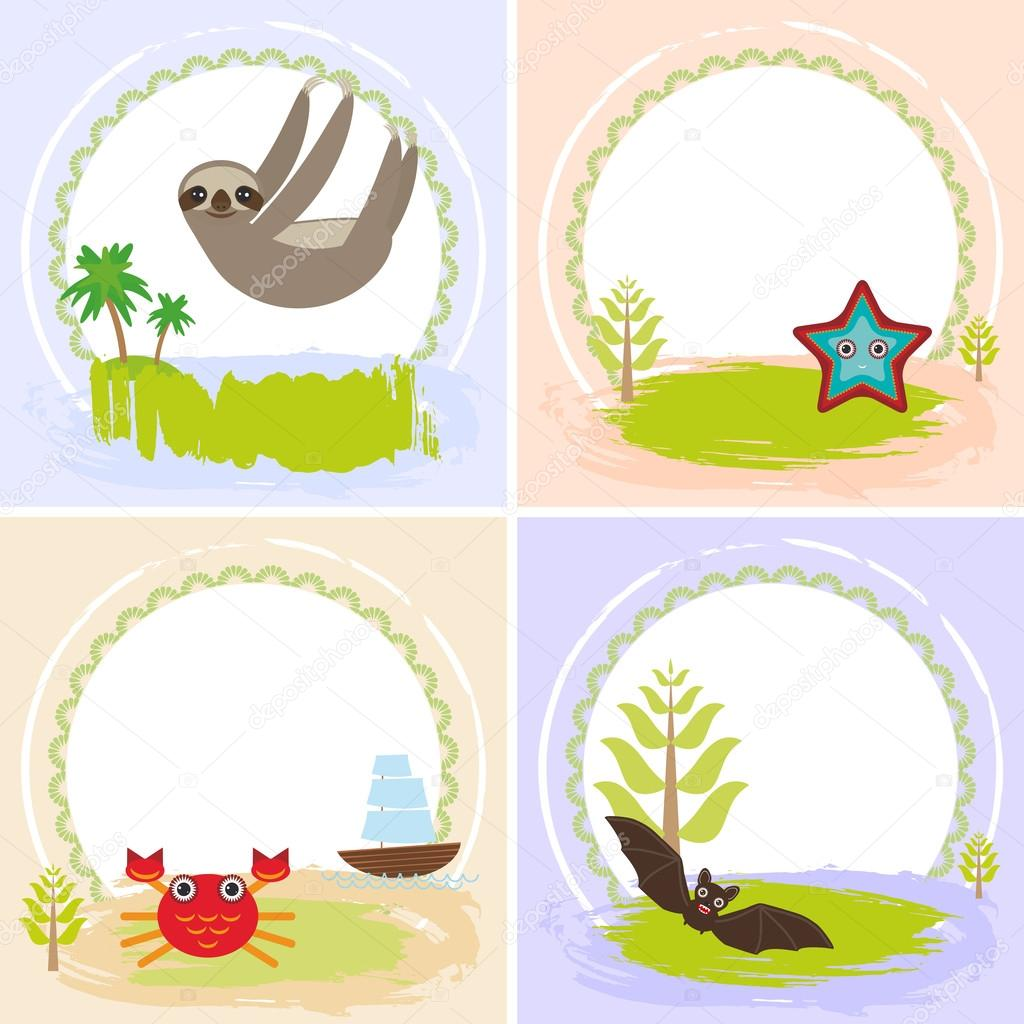 sloth crab cancer starfish bat set of cards design with funny