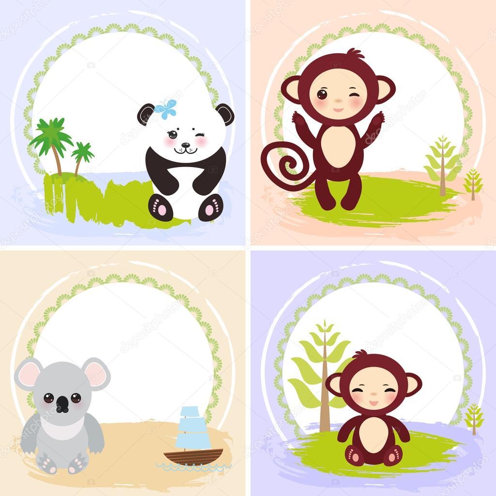 mono, panda, los osos koala, conjunto de diseño de tarjetas con ...