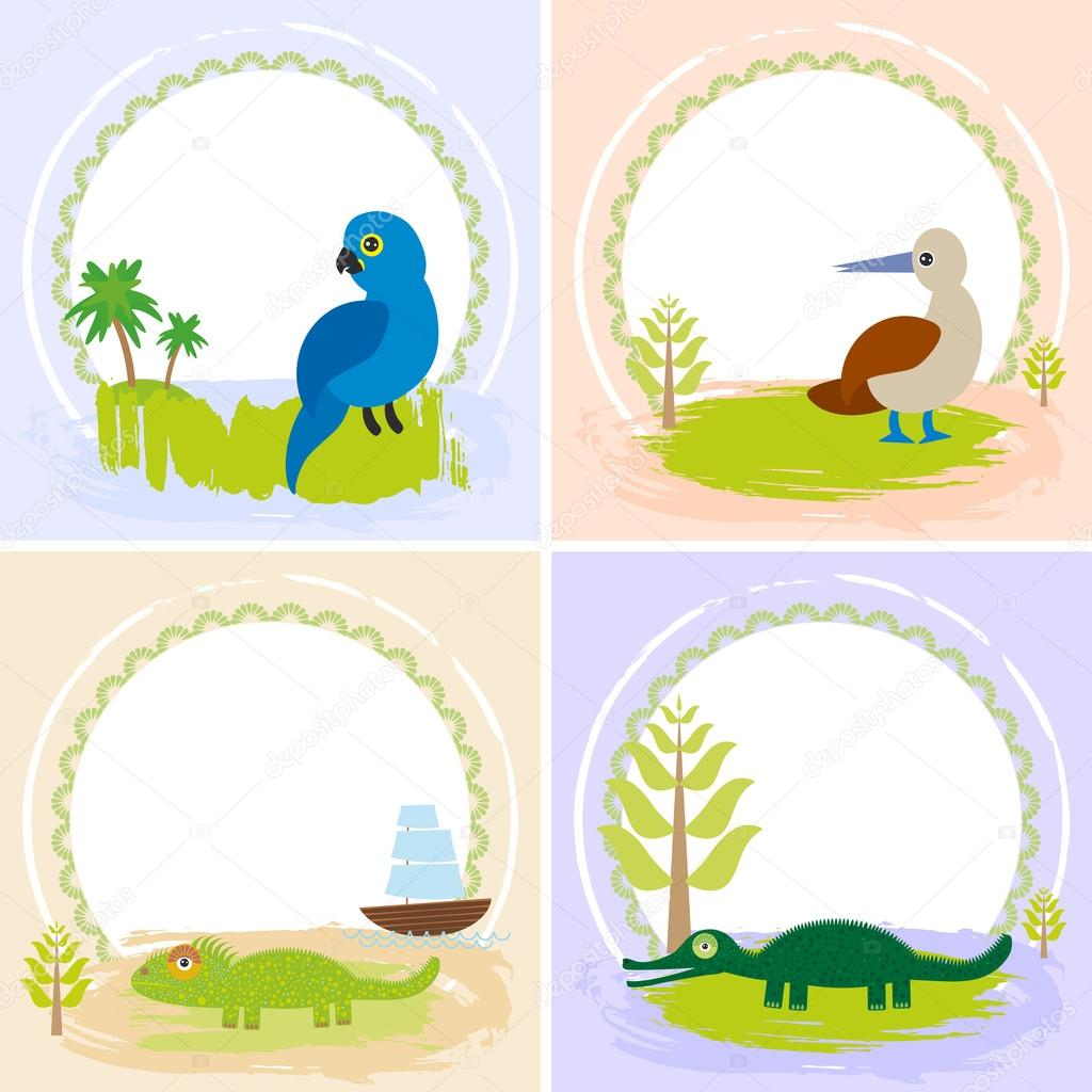 crocodile alligator iguana parrot bird booby set of cards