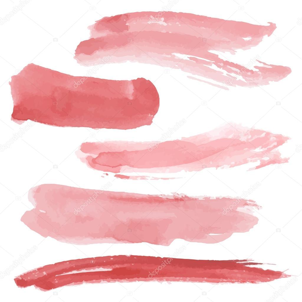 Red brush strokes set
