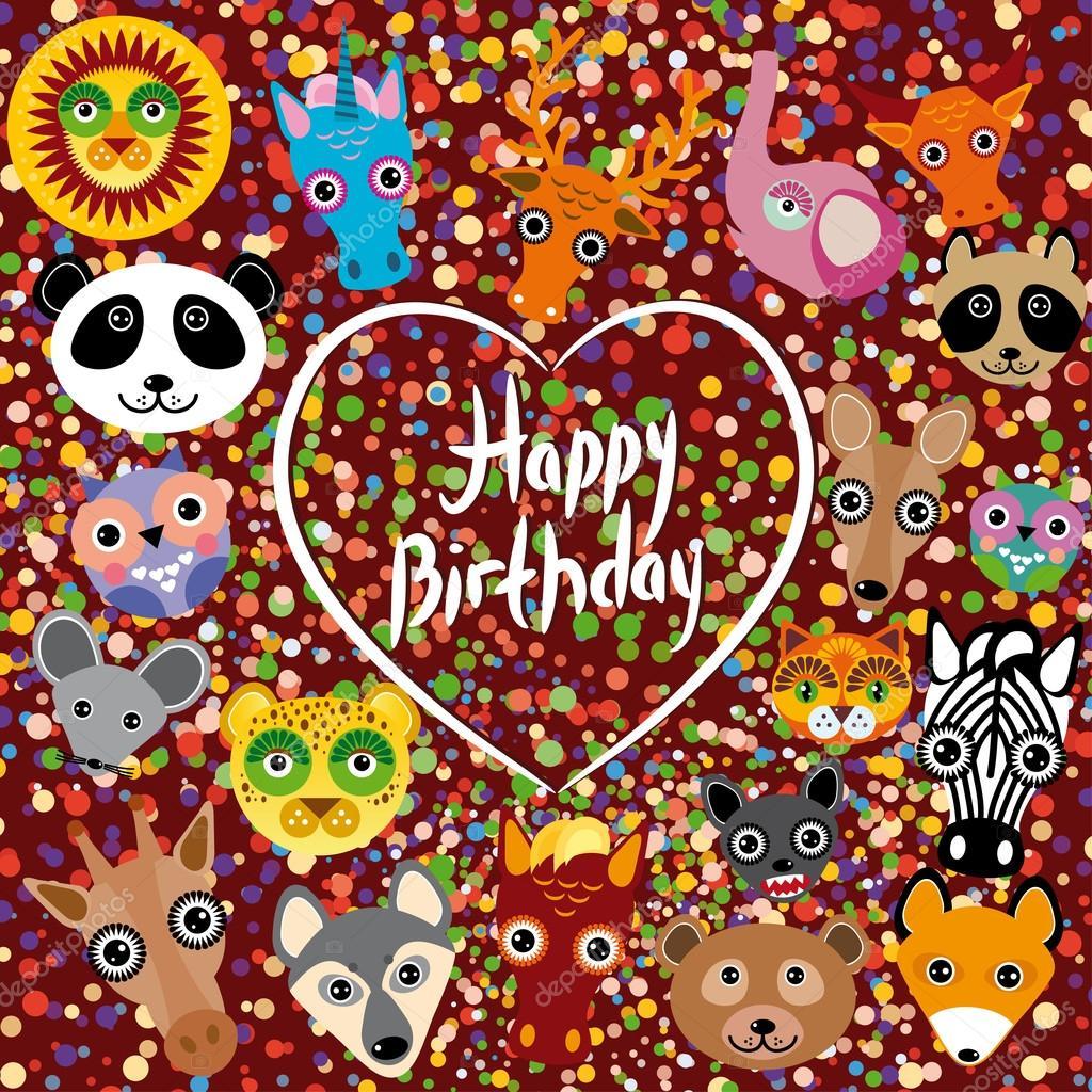 Herzlichen Gluckwunsch Zum Geburtstag Lustige Tier Gesicht Auf