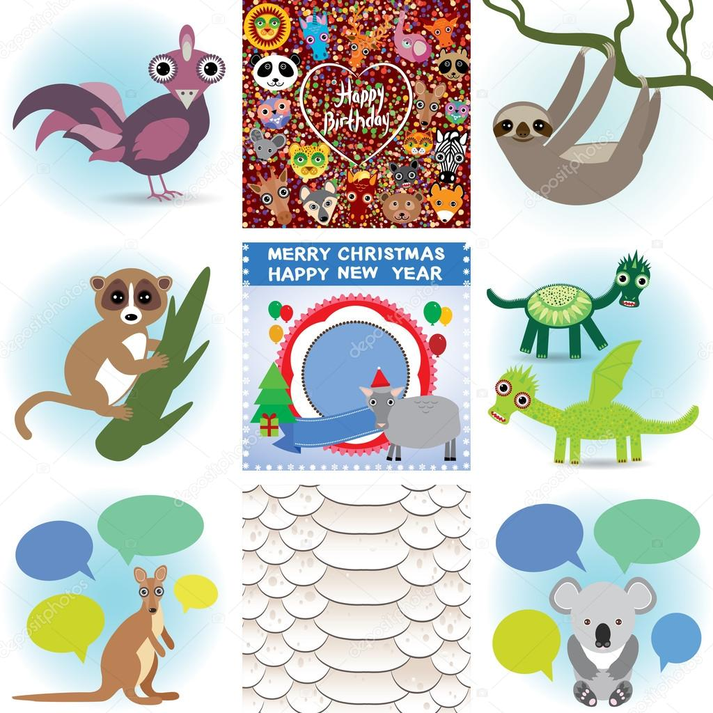 Set of funny animals greeting cards happy birthday and new year set of funny animals greeting cards happy birthday and new year seamless background snake m4hsunfo
