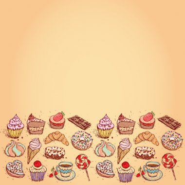 Card Hand drawn confectionery set croissant Cupcake candy marshmallow ice cream cake donut and coffee. vector
