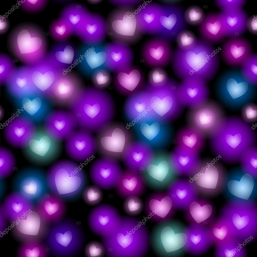 abstract seamless pattern with hearts on black background vector