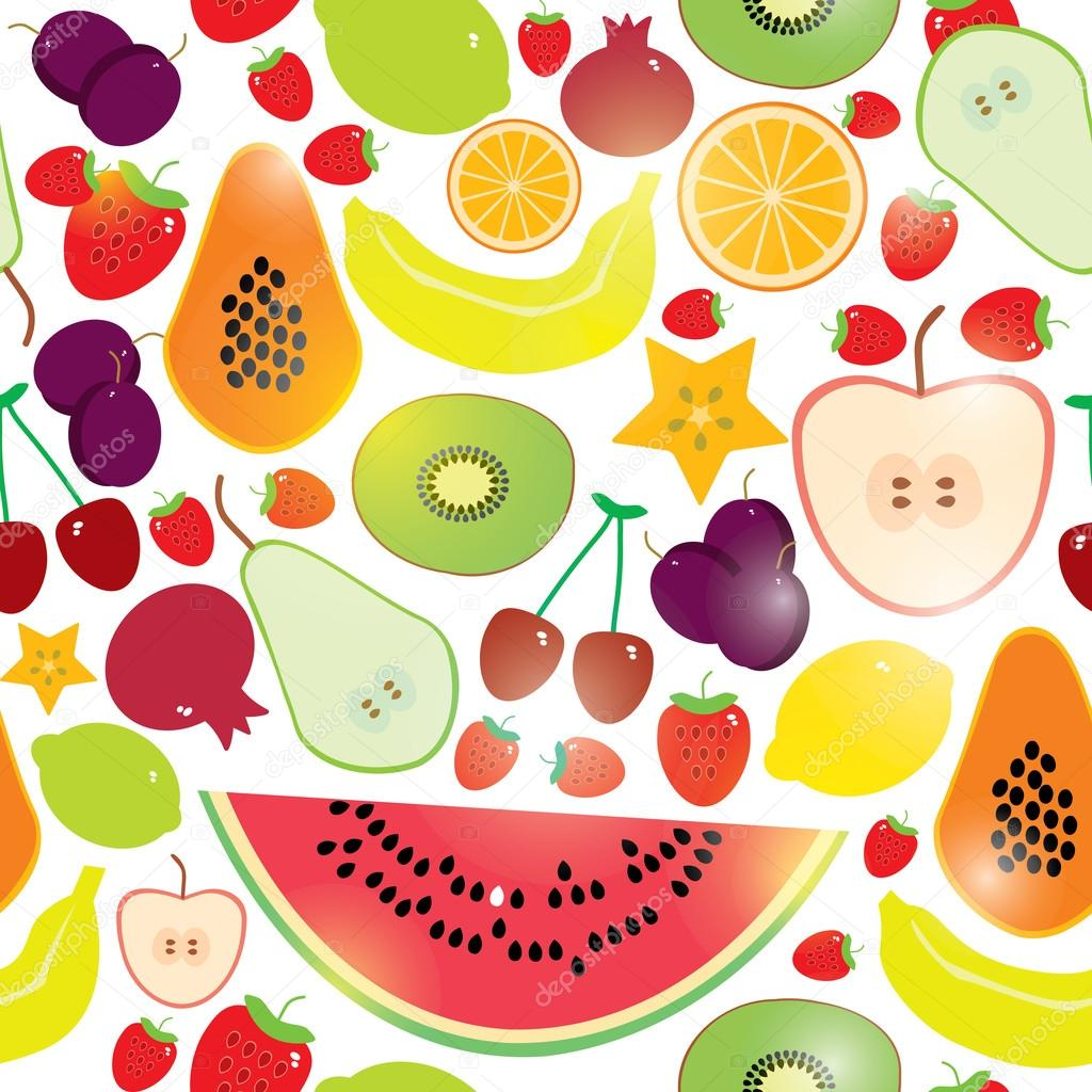 Healthy lifestyle. Fruits on white background seamless pattern. Vector.