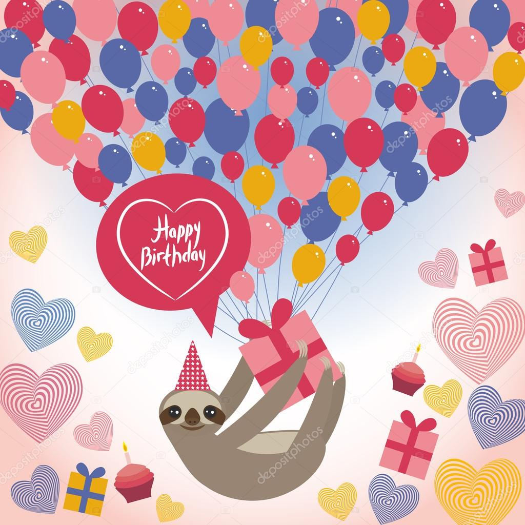 Three-toed sloth on white background. happy birthdaycard. Heart, gift box, balloons, birthday cake, hat. Blue, pink, orange. Vector