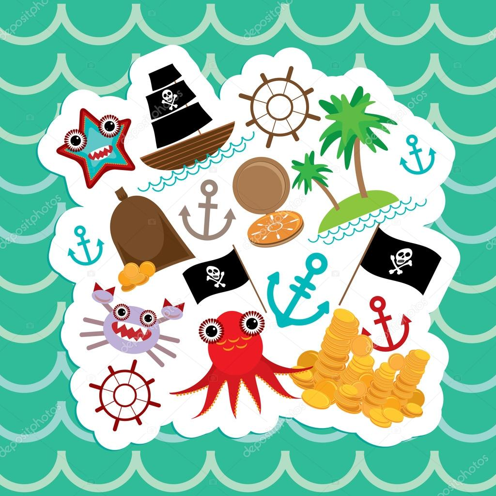 Card pirate. Cute party invitation animals design. Vector