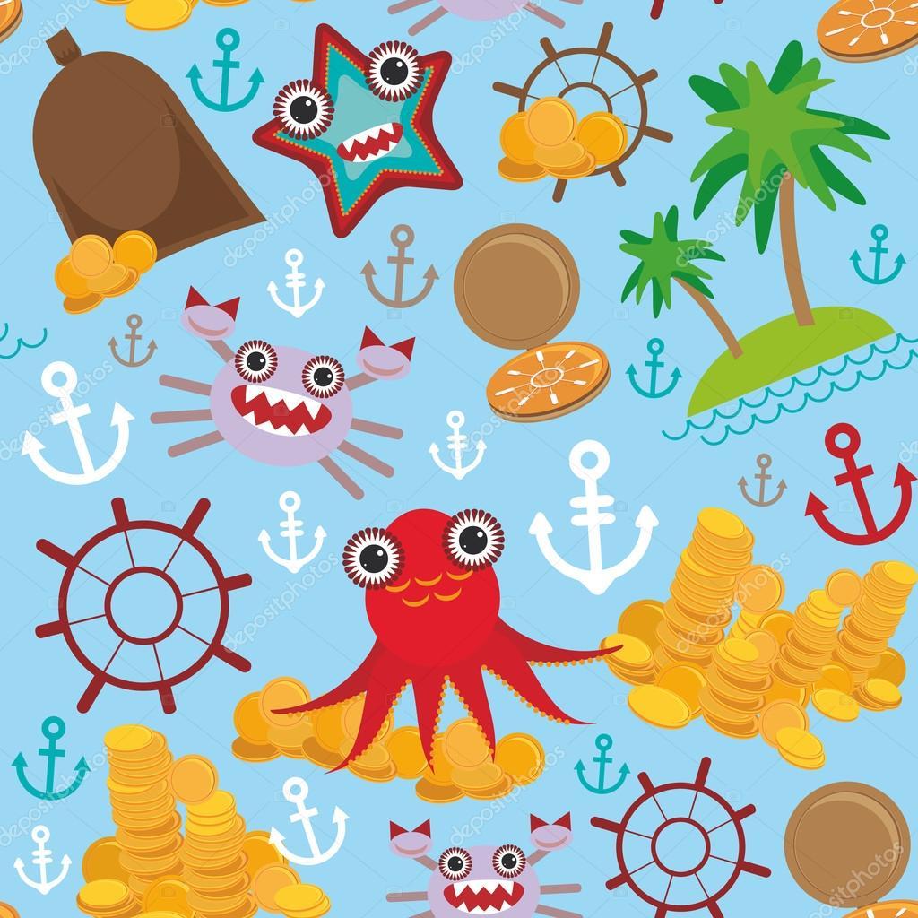 Marine seamless pirate pattern on light blue background. Vector