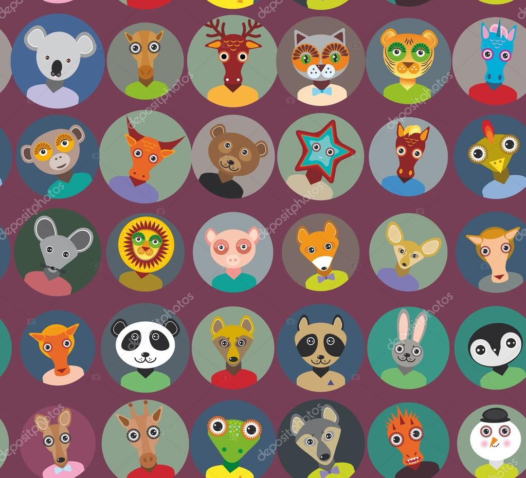 Seamless pattern animals faces circle icons set in Trendy Flat Style. zoo infographics design. Vector