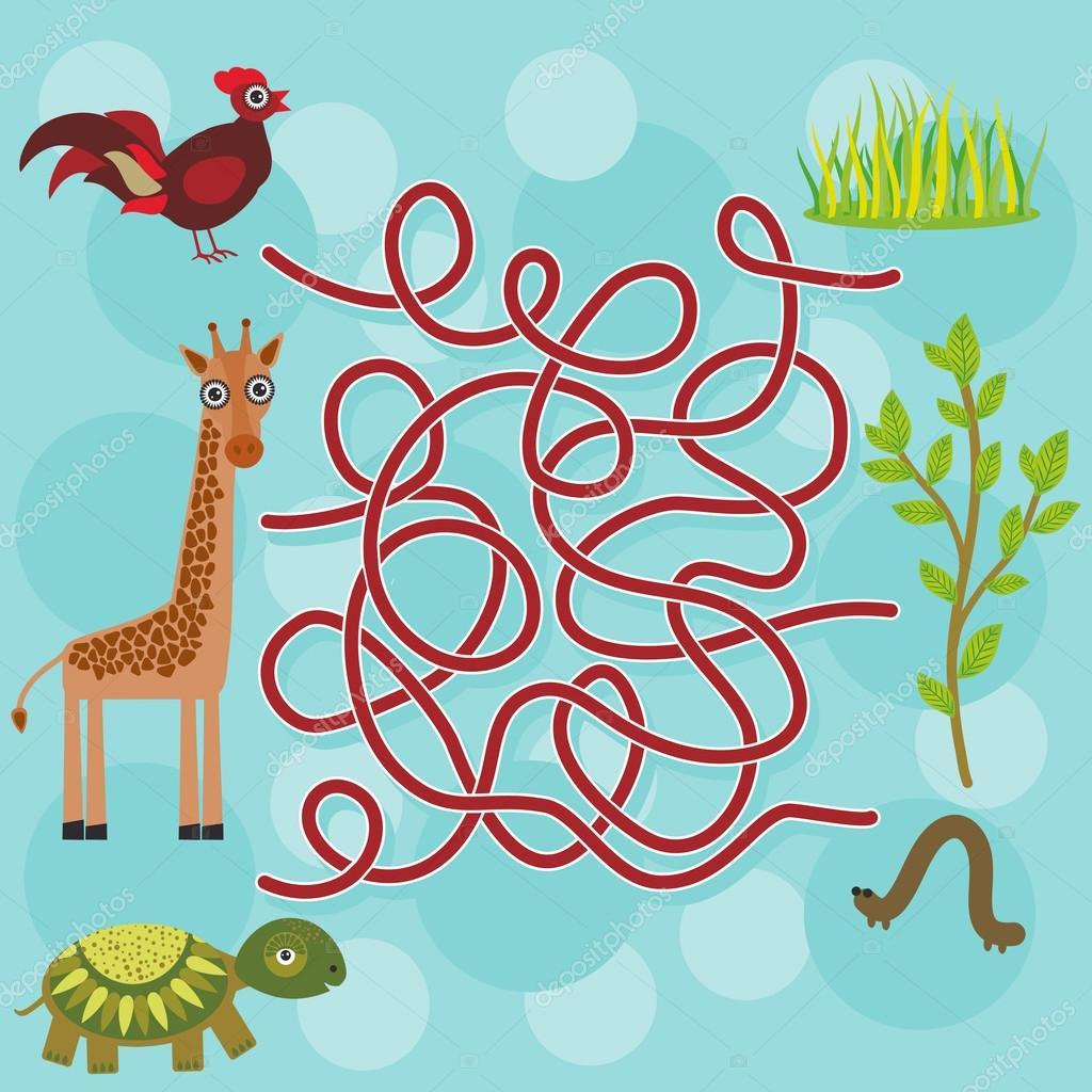 chicken, giraffe, turtle, labyrinth game for Preschool Children. Vector