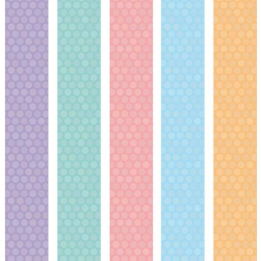 Polka dot background seamless pattern with orange pink lilac blue stripes. Vector