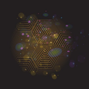 Volumetric 3D pyramid. hexagon. Optical illusion black and gold background. Vector
