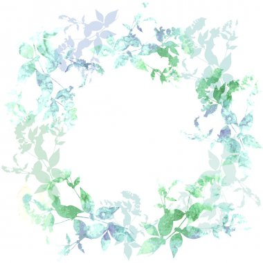 Spring background, wreath with mint green leaves, watercolor. Round banner for text. Vector