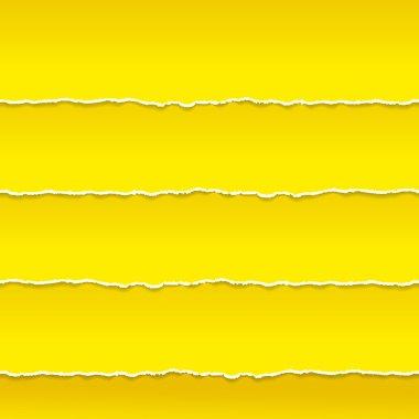 Strips of orange paper ragged edge. Vector