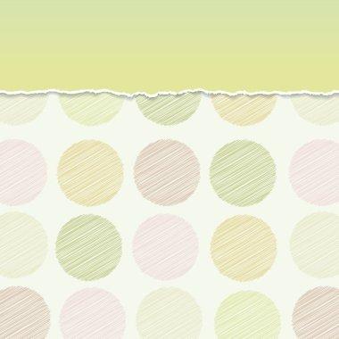 Vintage card design Polka dot background,  scribble dot on green background. Vector