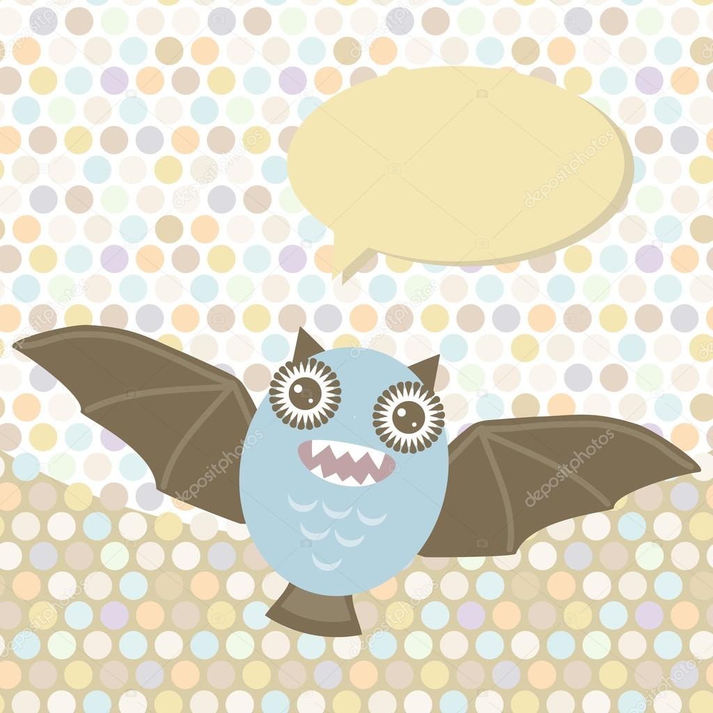 Polka dot background, pattern. Funny cute bat monster on dot background. Vector