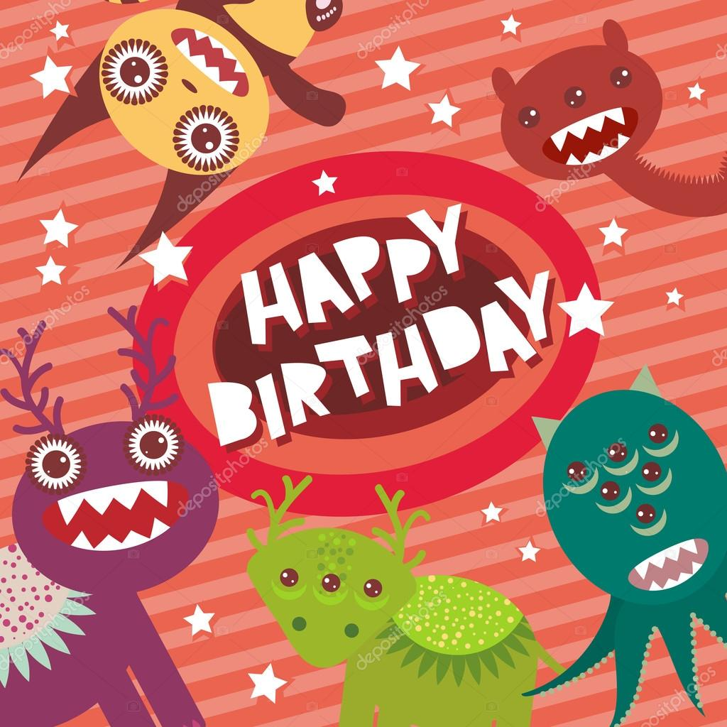 Happy birthday funny monsters party card design on pink striped happy birthday funny monsters party card design on pink background with stars vector ekaterina p voltagebd Images