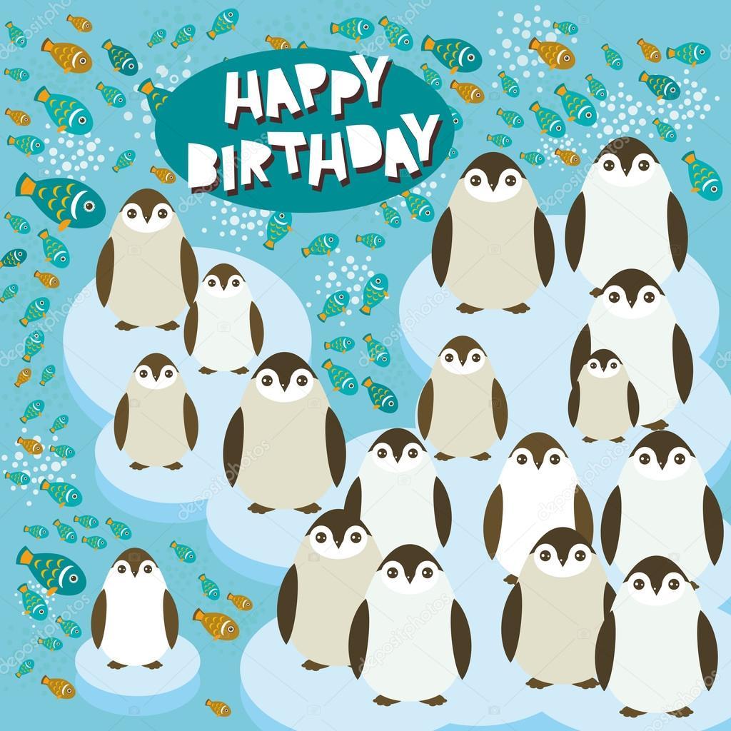 Alles Gute Zum Geburtstag Karte Lustige Pinguine Auf Einer