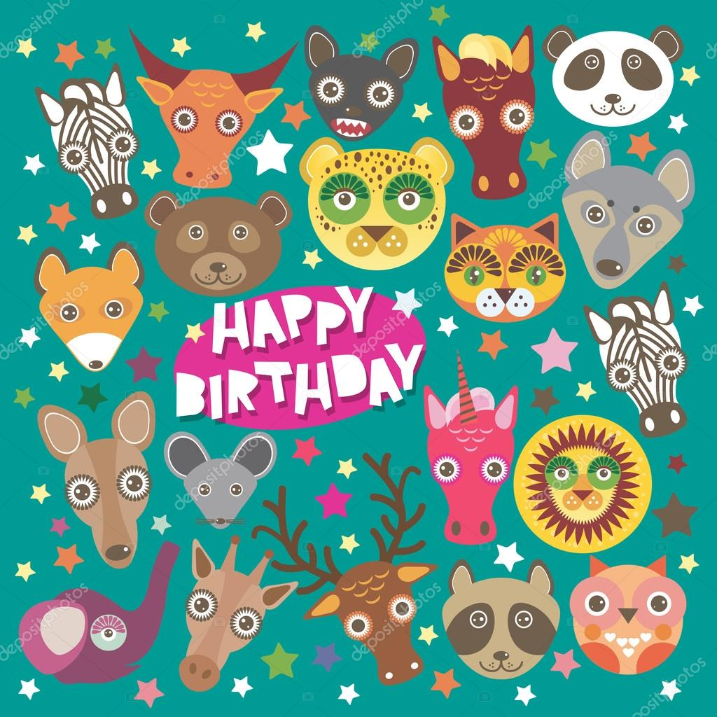 Happy Birthday Card Funny Animals Muzzle Teal Background With Stars