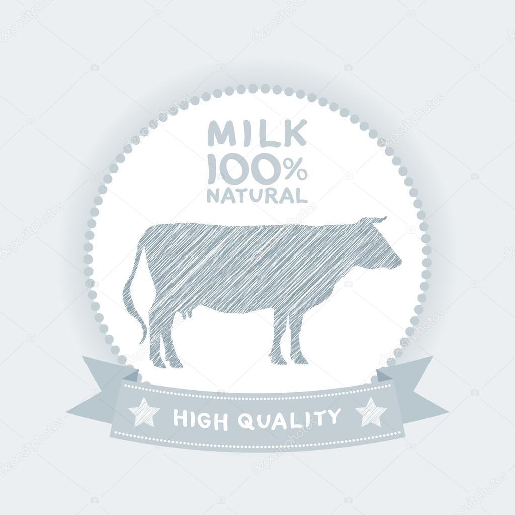 Farm shop, cow milk Diagram and Design Elements in Vintage Style. Vector