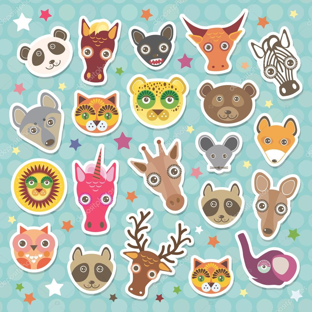 Sticker set of funny animals muzzle. Teal background with stars, Polka dot. Vector