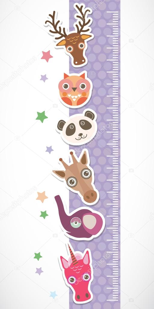 Children height meter wall sticker. Set of funny animals muzzle lilac stiker with stars. Vector