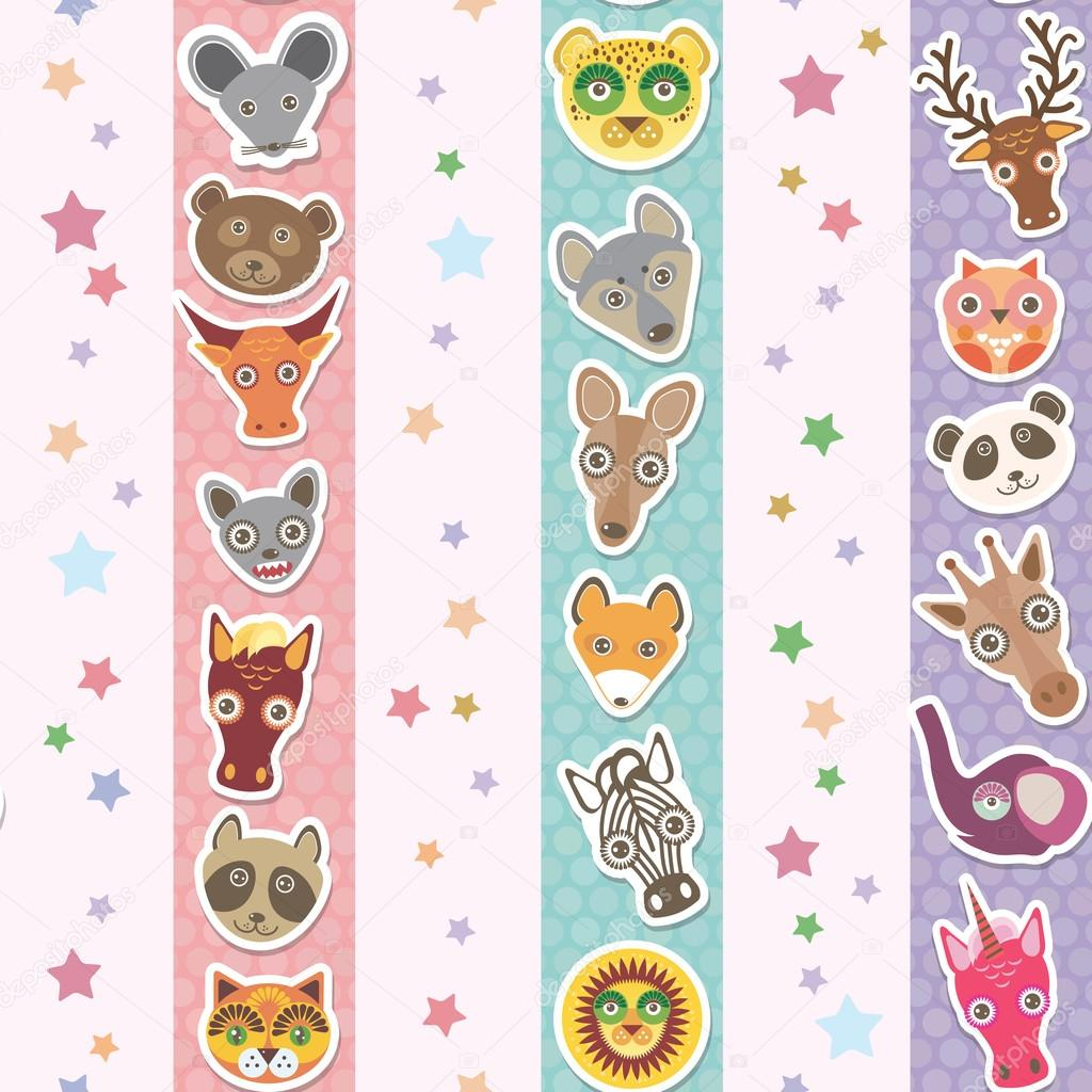 Set of funny animals muzzle seamless pattern with stars, pink lilac blue stripes. Vector