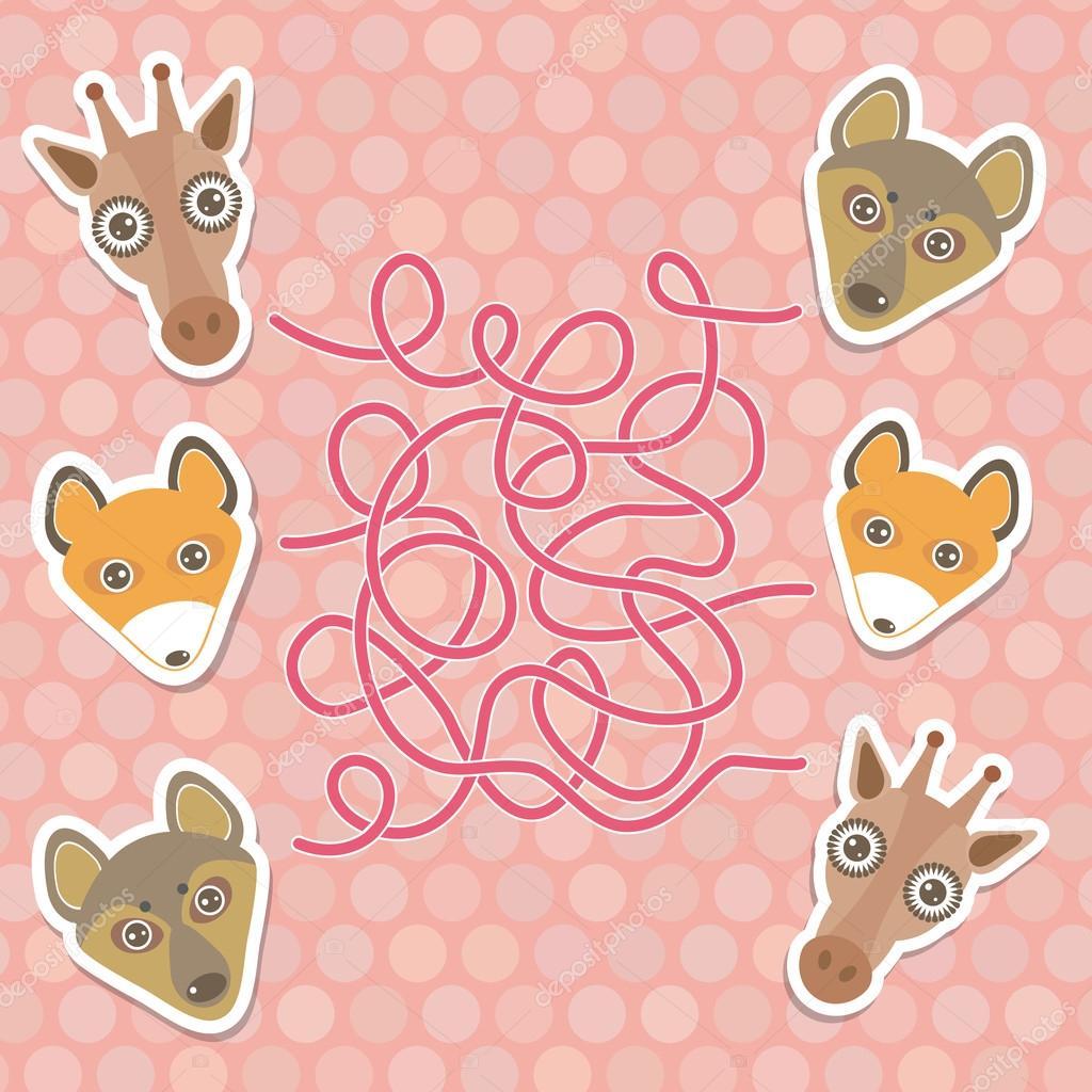 funny giraffe, fox, wolf labyrinth game for Preschool Children. Vector