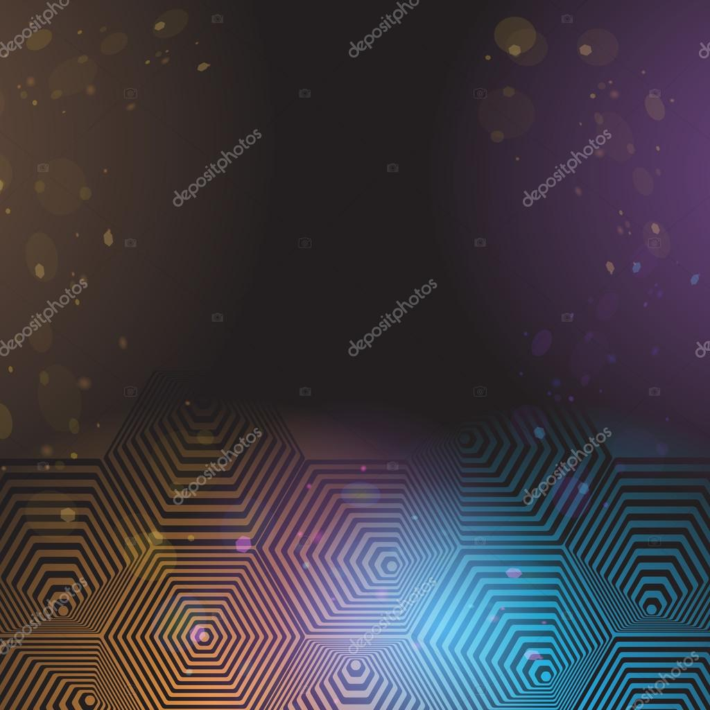 Volumetric 3D pyramid. hexagon. Optical illusion black purple and blue background. Vector