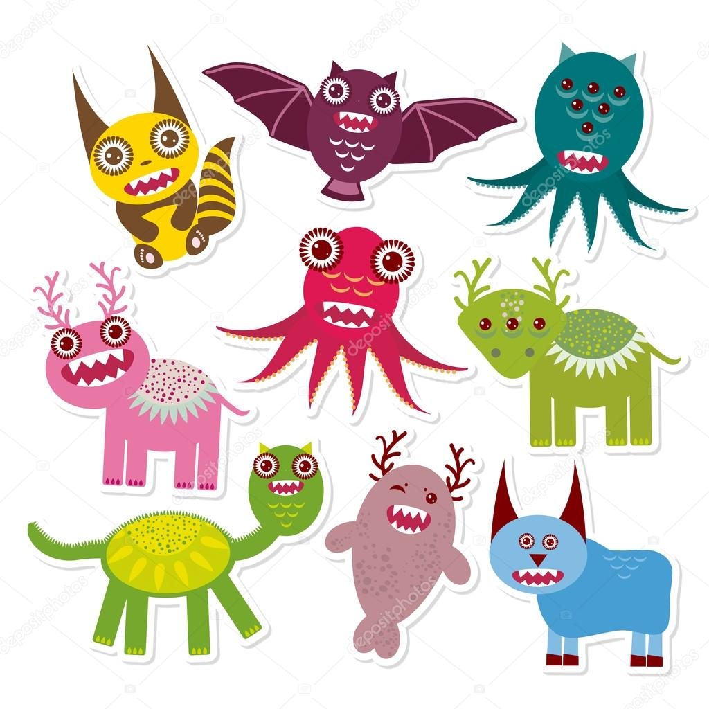 Sticker set Funny monsters collection on white background. Vector