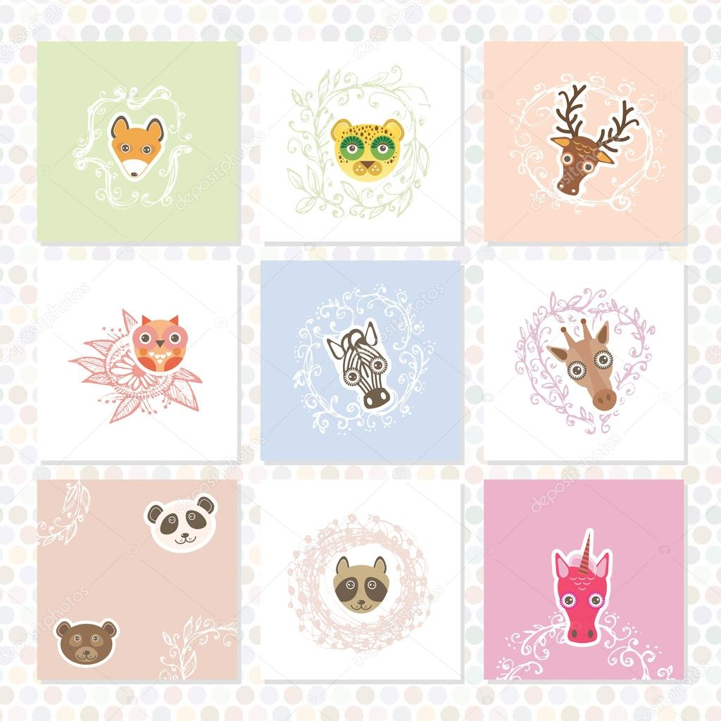 Greeting card set. Funny Animals. Circle floral borders. Sketch frames, hand-drawn. Vector