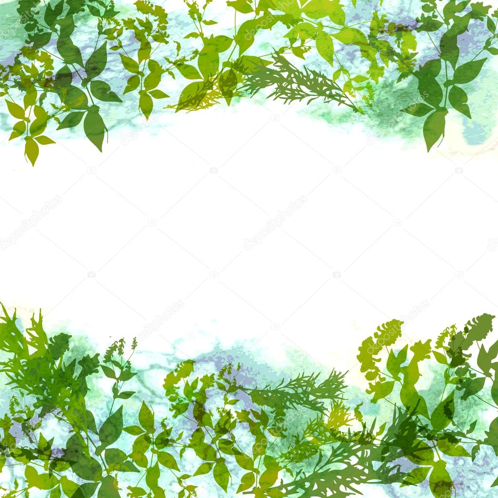 Spring background, wreath with green leaves, watercolor. banner for text. Vector