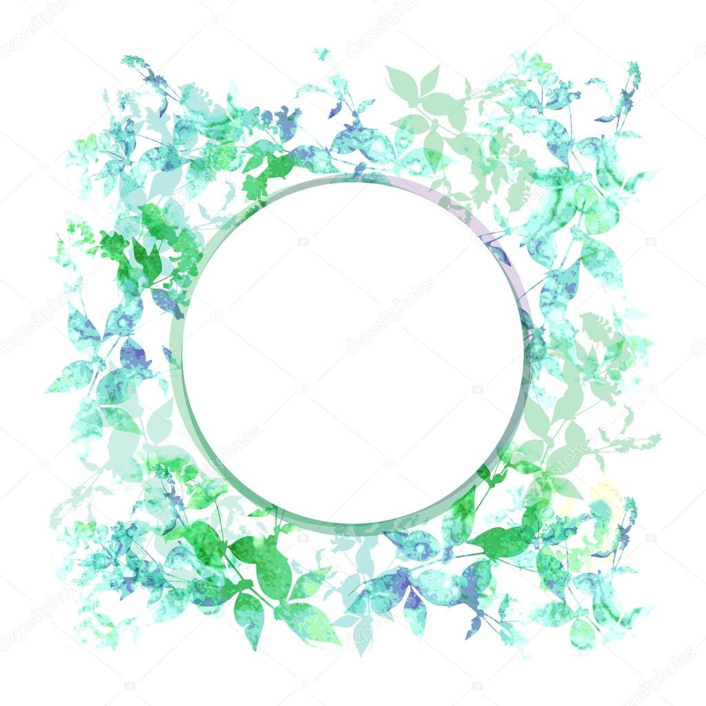 Spring background, wreath with green mint leaves, watercolor. Round banner for text. Vector