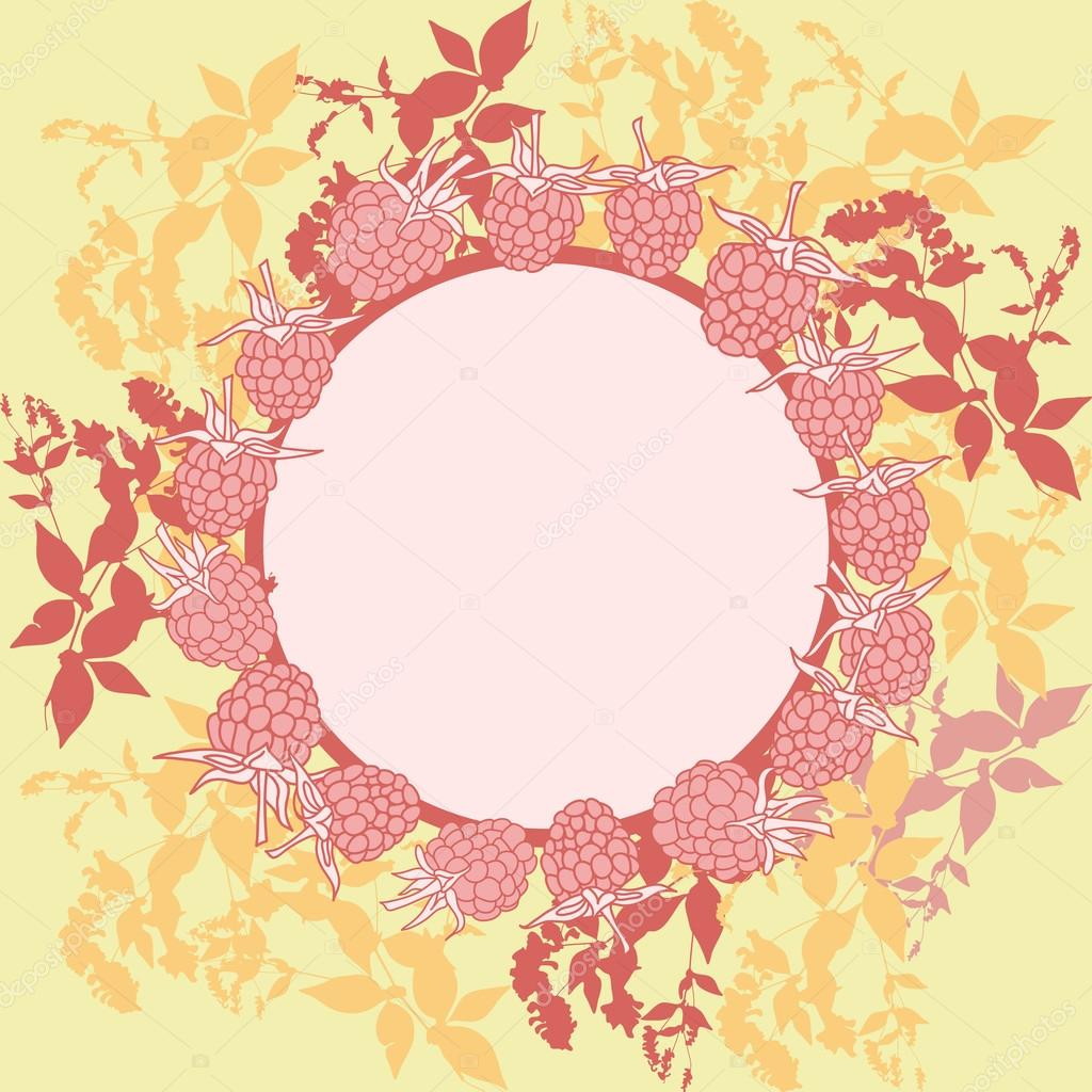 wreath with leaves. Round banner for text. raspberry on orange background. Sketch, hand-drawn. Vector