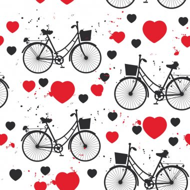 seamless pattern black bike and red heart on white background. Vector