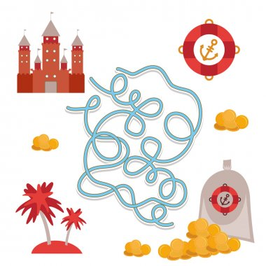 pirate treasure, cute sea objects collection labyrinth game for Preschool Children. Vector