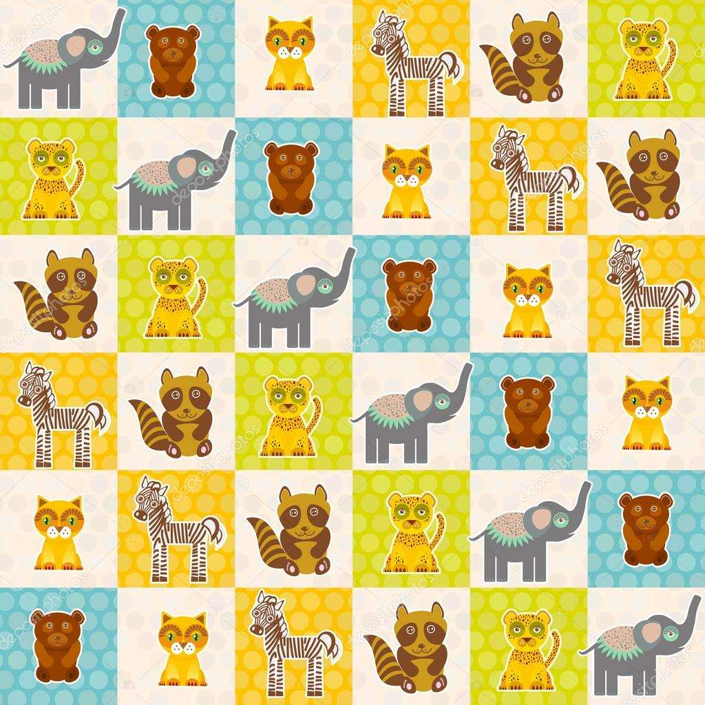 Set of funny animals bear cat raccoon zebra tiger elephant seamless pattern. Polka dot background with green blue orange square. Vector