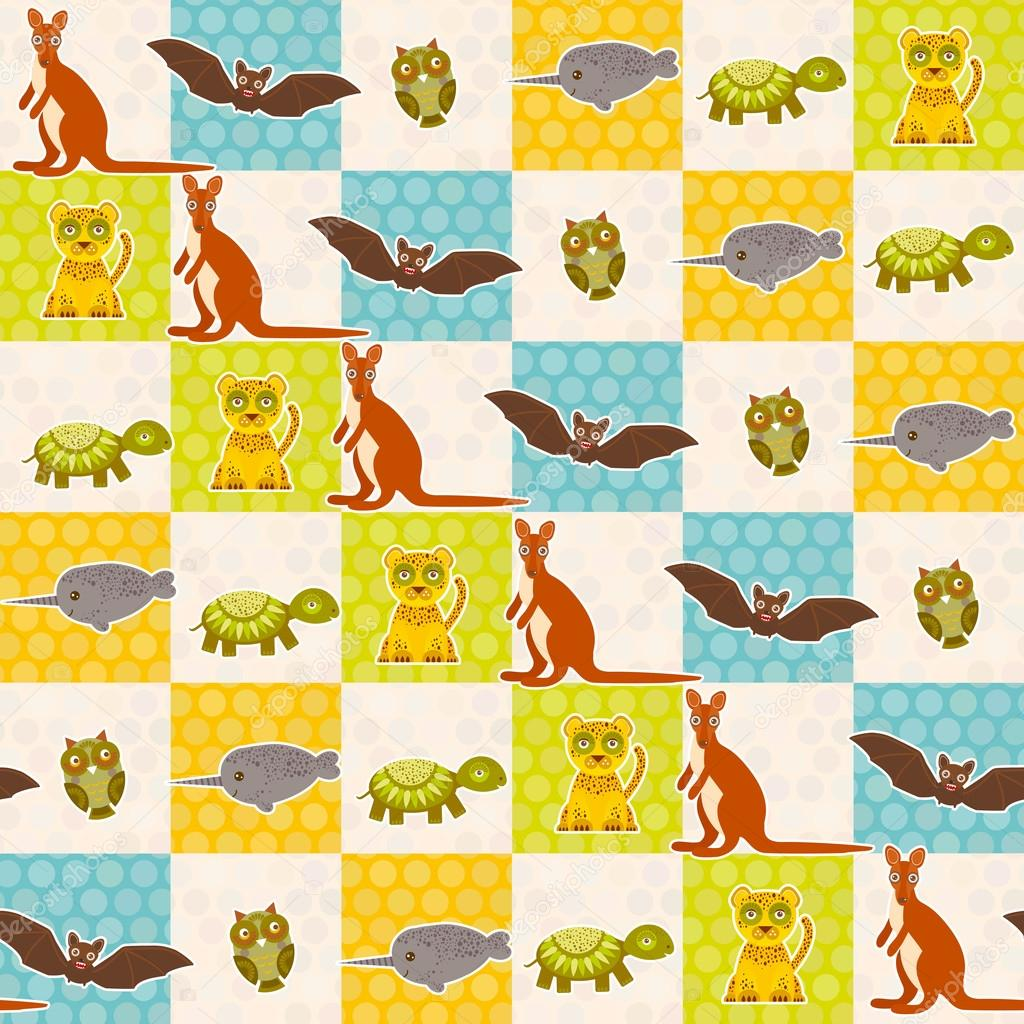 Set of funny animals bat turtle owl tiger kangaroo narwhal seamless pattern. Polka dot background with green blue orange square. Vector