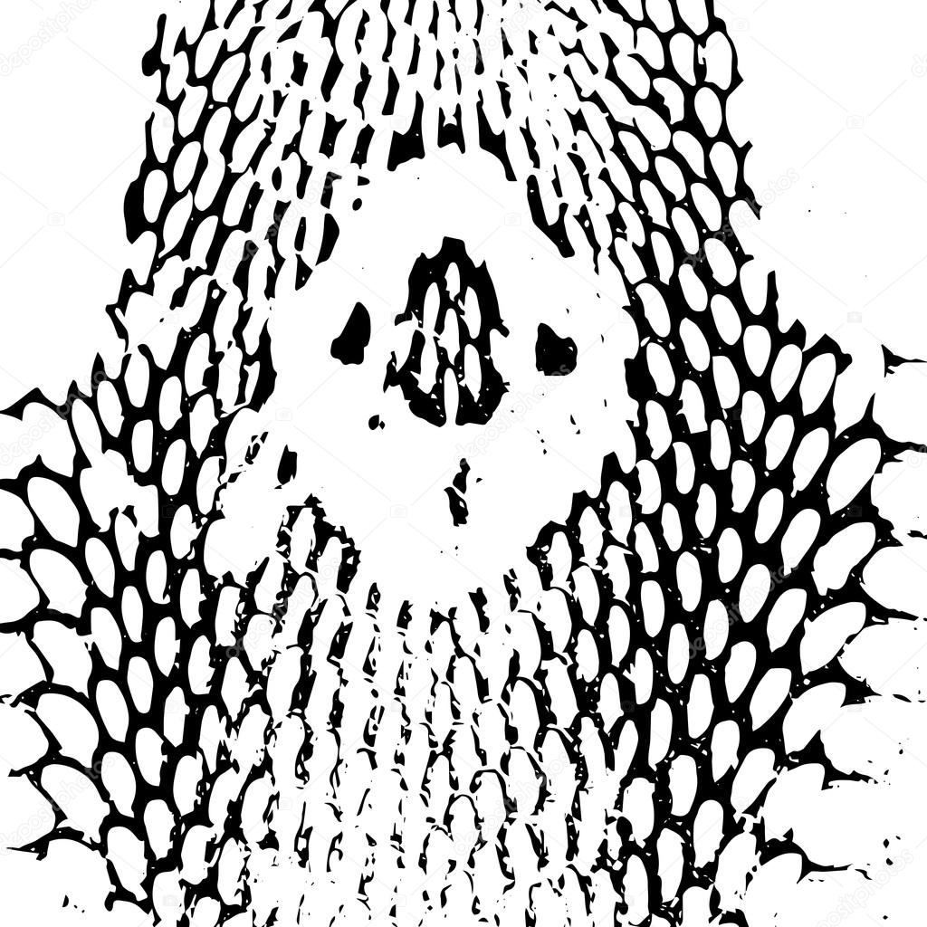 Cobra Head Snake Skin Abstract Texture Black On White Background