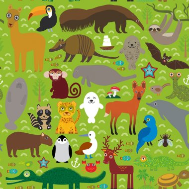 South America seamless pattern sloth anteater toucan lama fur seal armadillo boa manatee dolphin Maned wolf raccoon jaguar macaw lizard turtle crocodile deer penguin Blue-footed booby Capybara. Vector
