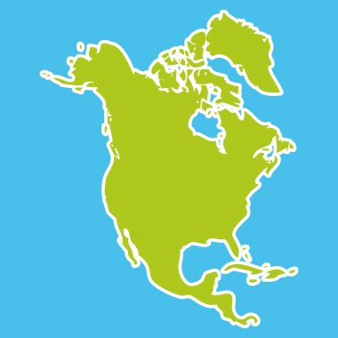 North America Map Green continent on blue background. Vector