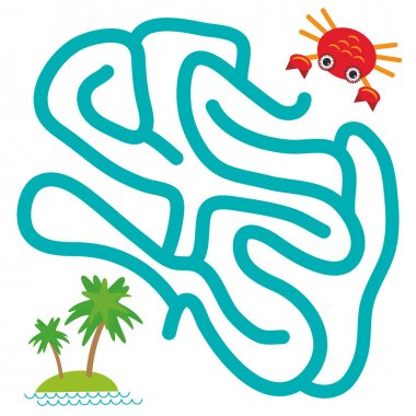 Red crab and island with palm trees on white background  labyrinth game for Preschool Children. Vector