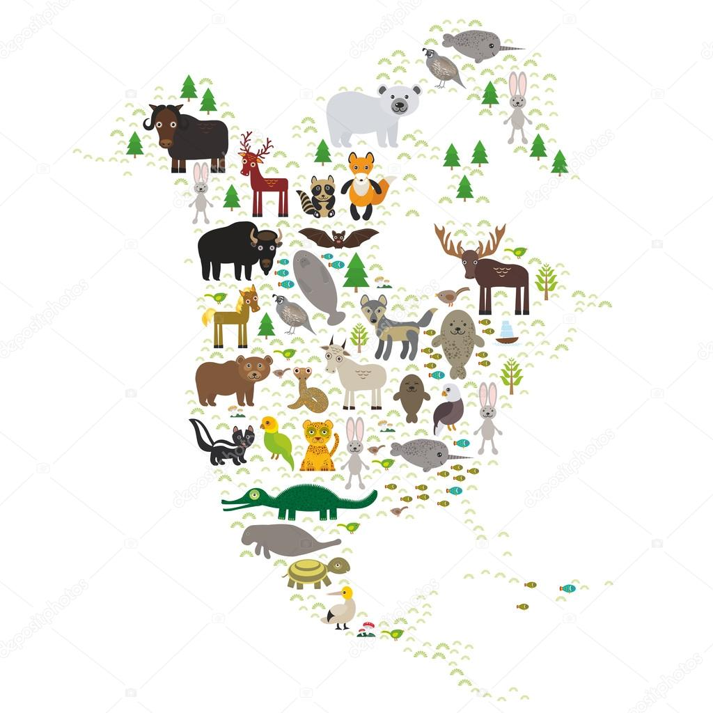 bison bat manatee fox elk horse wolf partridge fur seal Polar bear Pit viper snake Mountain goat raccoon Eagle skunk parakeet Jaguar hare narwhal elk Grizzly gannet Muskox turtle alligator. Vector