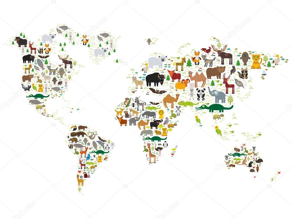 Cartoon animal world map for children and kids animals from all cartoon animal world map for children and kids animals from all over the world on white background vector illustration vector de ekaterina p gumiabroncs