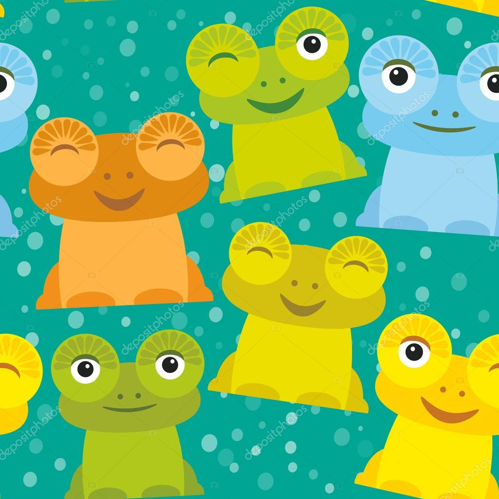 Cute Cartoon funny frog set yellow green blue orange on turquoise background, seamless pattern. Vector