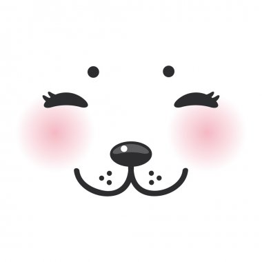 Kawaii funny albino animal white muzzle with pink cheeks and closed eyes. Vector illustration stock vector